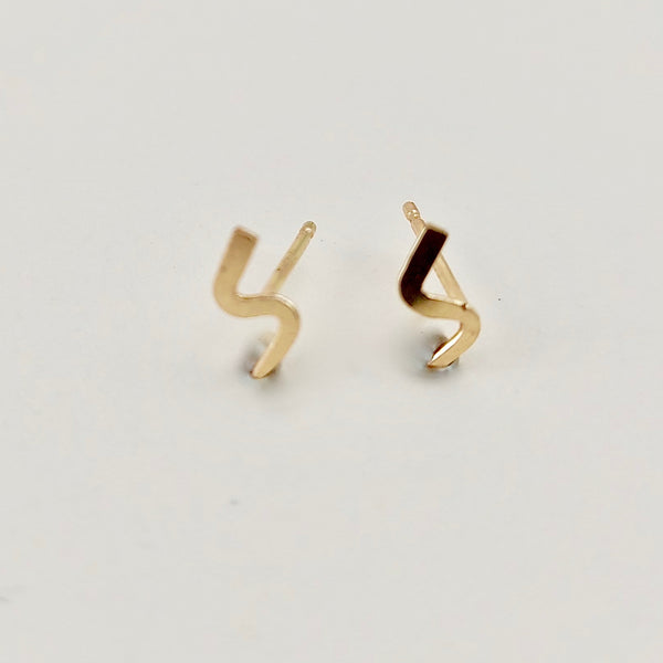 Gold Lightening Mini Stud