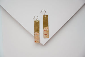 Birch Bark Brass Narrow Earrings