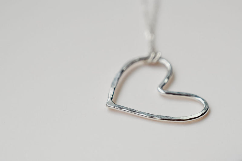 Our silver small heart necklace