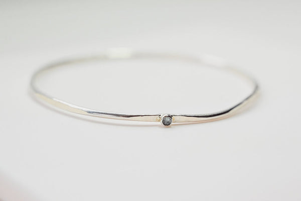 HEX BANGLE STACKING SILVER BRACELET WITH SMALL GEMSTONE