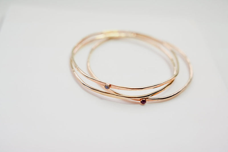 Hex Bangle Stacking Gold Bracelet With Small Gemstone