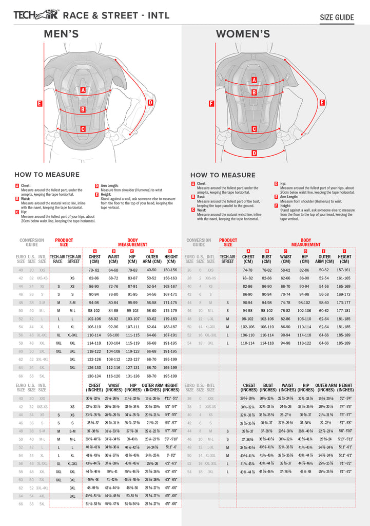 Alpinestars Tech-Air Race Vest Size Chart