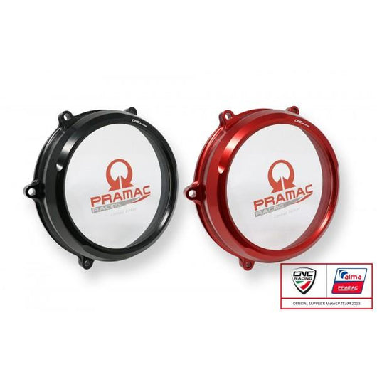CNC Racing PRAMAC EDITION Clear Wet Clutch Cover for the Ducati Panigale V4 / S / Speciale