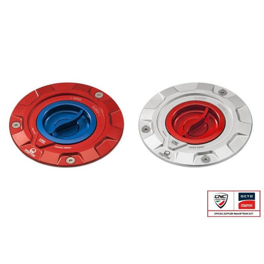 CNC Racing PRAMAC EDITION Quick Release Gas Cap for newer Ducati's MV's and Aprilia's