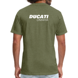 Iconic Ducati Fitted Cotton/Poly T-Shirt by Next Level - heather military green