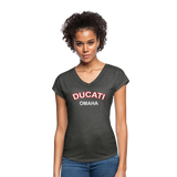 Ducati Omaha Retro Curve Ladies V-Neck Tri-Blend T-Shirt - deep heather