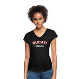 Ducati Omaha Retro Curve Ladies V-Neck Tri-Blend T-Shirt - black