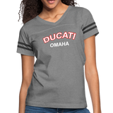 Ducati Omaha Retro Curve Ladies Ringer T-Shirt - heather gray/charcoal
