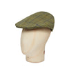 Green Twill Wool Medium Check Flat Cap