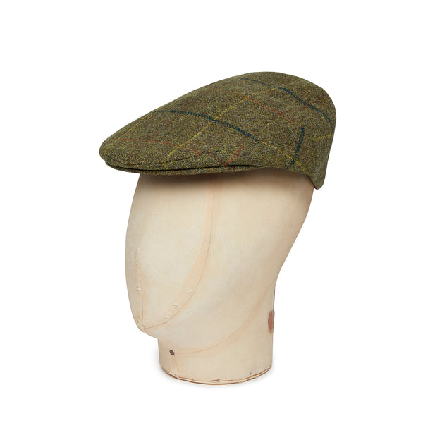 Green Twill Wool Large Check Flat Cap