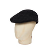 Black Twill Wool/Polyester Mix Flat Cap
