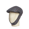 Grey Twill Wool Made In England Rally Cap With Blue, Orange, Navy & Cream Overcheck