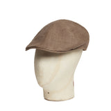 Plain Brown Houndstooth Cotton Roma Cap