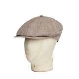 Beige Linen Toni Cap With Brown Overcheck