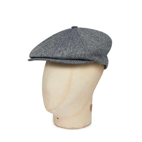Grey Herringbone Silk Toni Cap