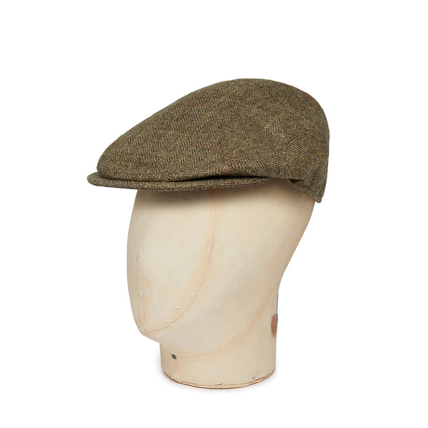 Brown Twill Overcheck Herringbone Wool Flat Cap