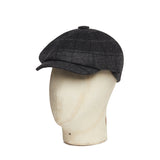Grey & Navy Check, Twill Tweed Made In England Gatsby Cap