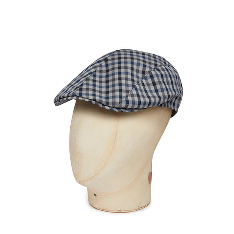 Brown With Black & Navy Check Wool Roma Flat Cap