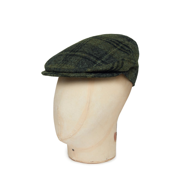 Green Twill Plaid Check Wool Flat Cap