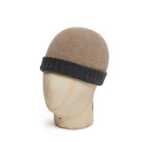 Dark Grey & Light Brown Reversible Cashmere Beanie