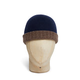 Navy & Brown Reversible Cashmere Beanie