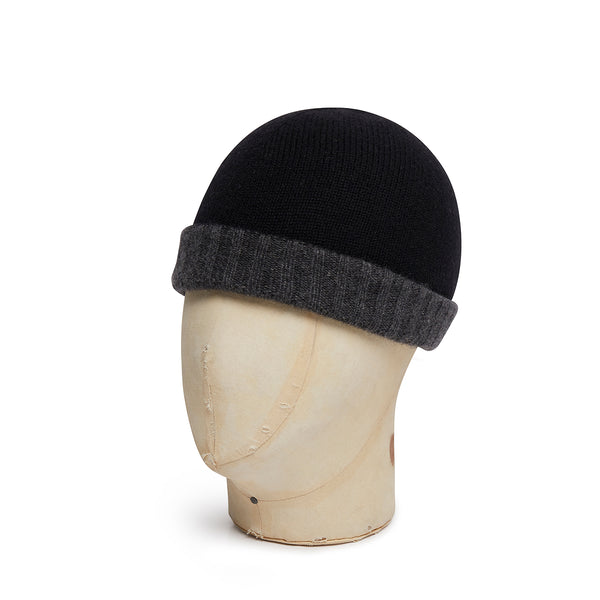 Black & Grey Reversible Cashmere Beanie