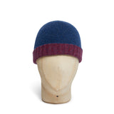 Red & Navy Reversible Cashmere Beanie