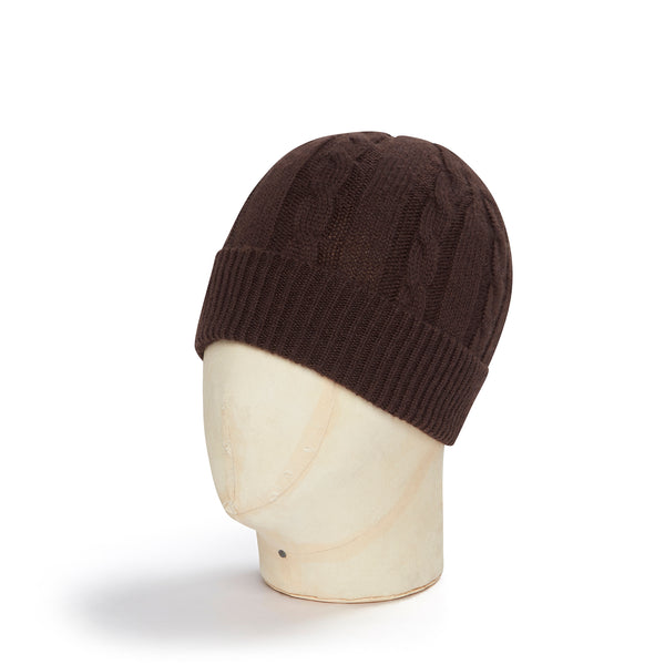 Brown Cable Knit Cashmere Beanie