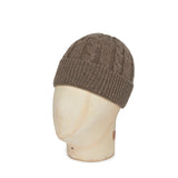 Wood Brown Cable Knit Cashmere Beanie