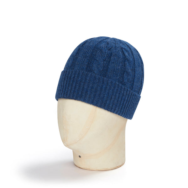 Navy Cable Knit Cashmere Beanie