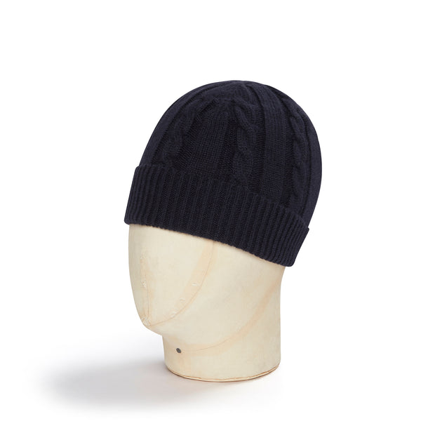 Dark Navy Cable Knit Cashmere Beanie