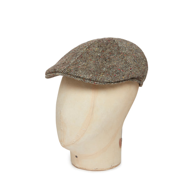 Brown & Yellow Donegal Tweed Woollen Roma Cap
