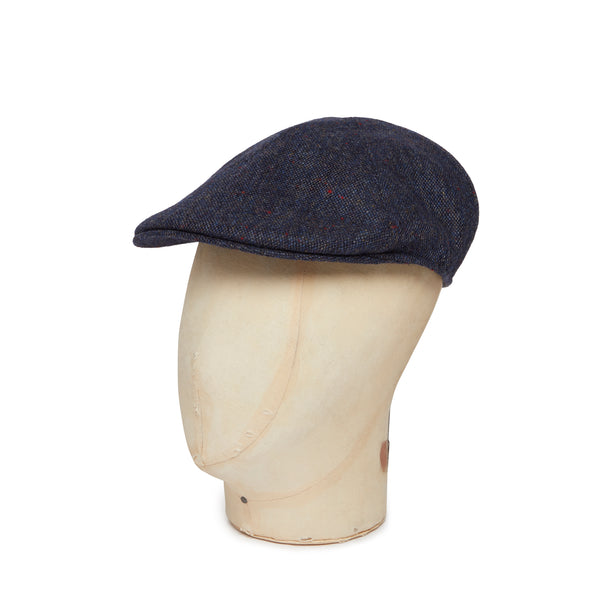 Navy Donegal Tweed Woollen Roma Cap