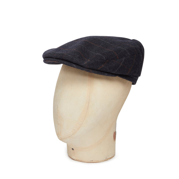 Navy Over Check Woollen Loden Harlem Cap