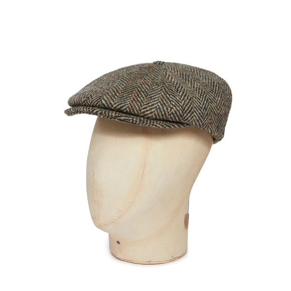 Green & Brown Donegal Tweed Woollen Toni Cap