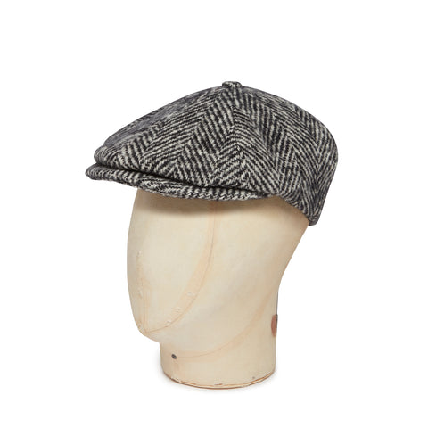 Black & White Heavyweight Herringbone Donegal Tweed Woollen Toni Cap