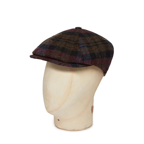 Red & Brown Graded Check Woollen Toni Cap