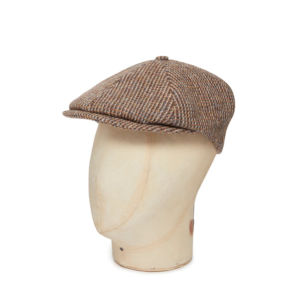 Brown & Tan Box Weave Harris Tweed Woollen Toni Cap