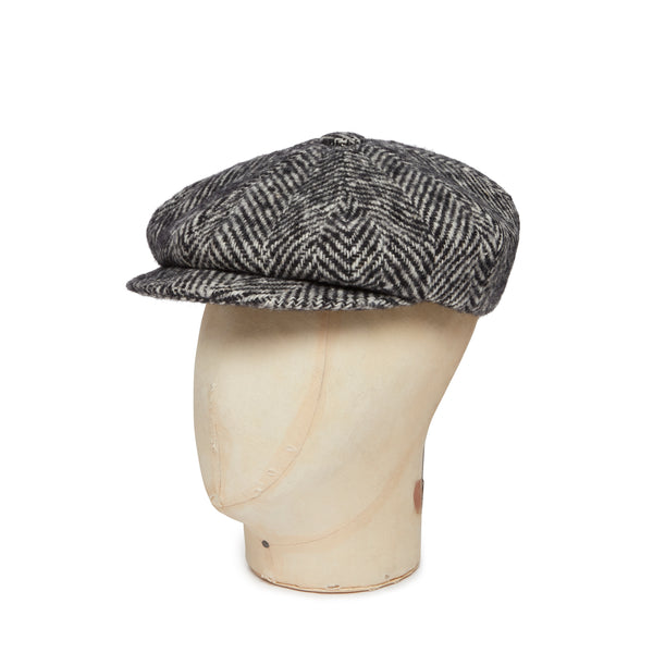 Black & White Heavyleight Herringbone Donegal Tweed Woolen Gatsby Cap