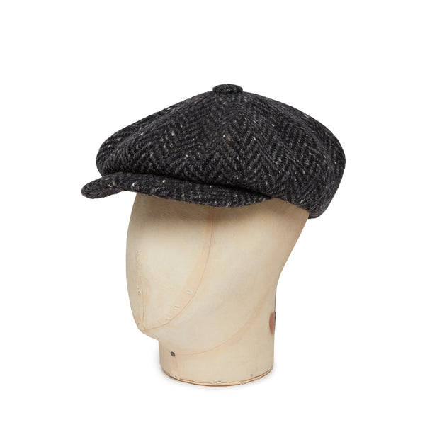 Black & Grey Heavyleight Herringbone Donegal Tweed Woollen Gatsby Cap