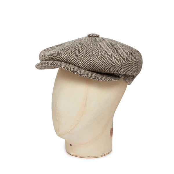 Brown & Cream Herringbone Donegal Tweed Woollen Gatsby Cap