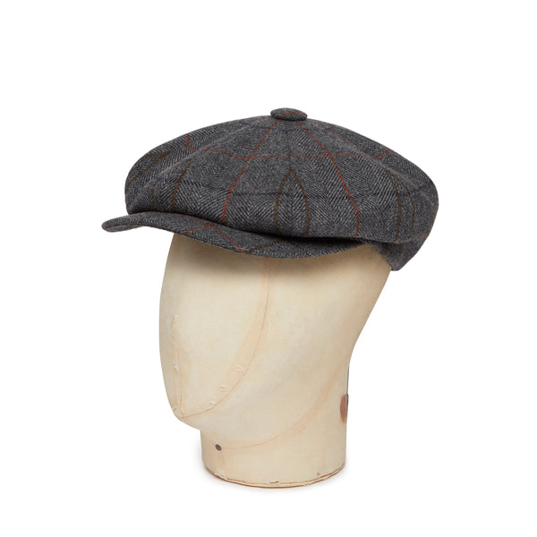 Orange & Brown Check Woollen Gatsby Cap