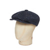 Dark Blue Pick & Pick Donegal Tweed Woollen Gatsby Cap