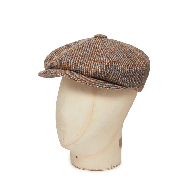 Brown & Tan Box Weave Harris Tweed Woollen Gatsby Cap