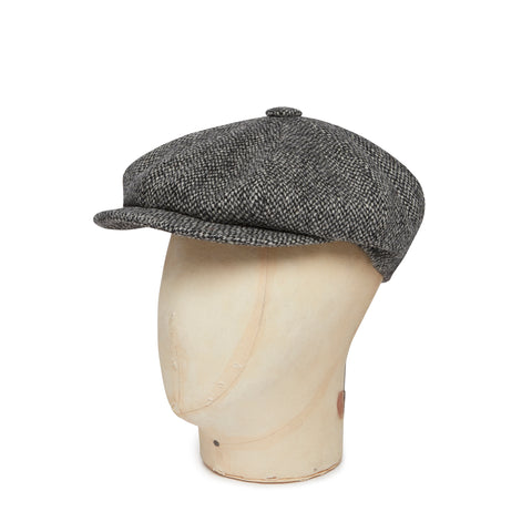 Black & White Hopsack Harris Tweed Woollen Gatsby Cap