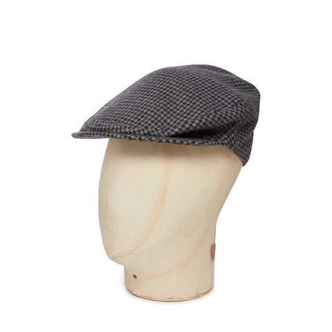 Grey Houndstooth Cashmere Made In England Flat Cap