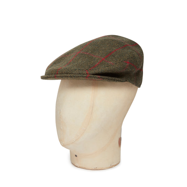 Green Herringbone With Cerise Over Check Made In England Woollen Flat Cap