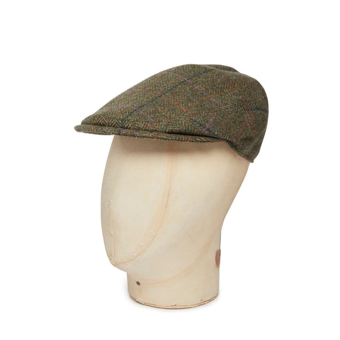 Green Herringbone  Multi Colour Over Check Made In England Woollen Flat Cap