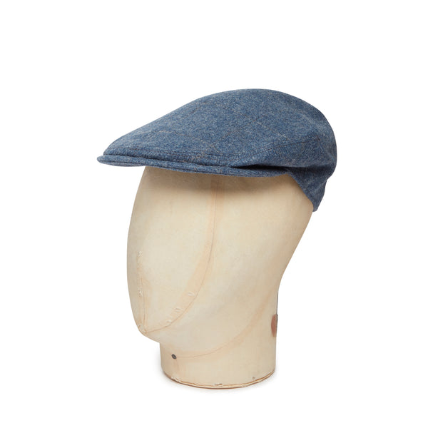 Flintstone Blue With Stone & Quarry Over Check Made In England Woollen Flat Cap
