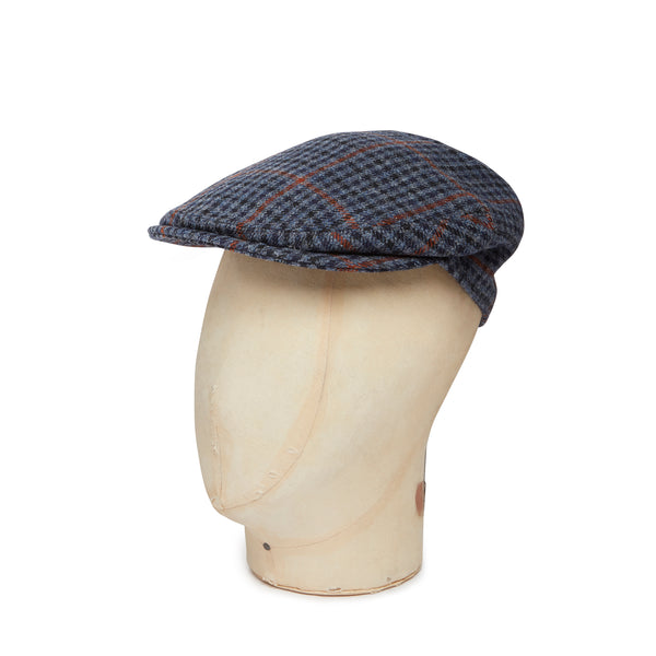 Blue, Grey & Amber Houndstooth Made In England Woollen Flat Cap